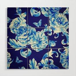 Blue Flowers & Butterflies Pattern Wood Wall Art