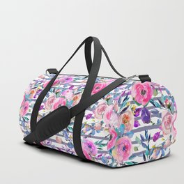 Pink mauve lilac hand painted watercolor roses floral stripes Duffle Bag