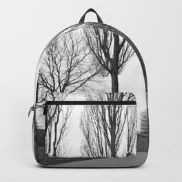 road and trees 1 b&w Backpack