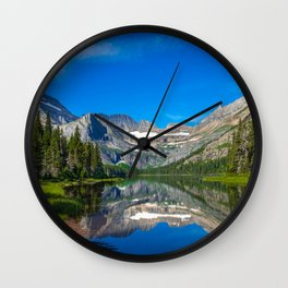 A calm view of lake Josephine along the Grinnell Glacier Trail, Glacier National Park, Montana Wall Clock