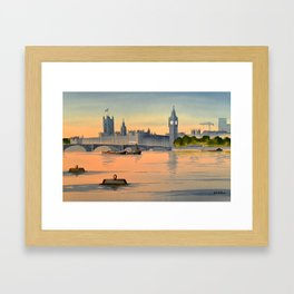 Westminster And Big Ben From The River Thames London Framed Art Print