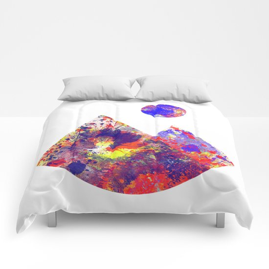 Primary Landscape - Geometric Abstract In Primary Colours - Red, Blue And Yellow Comforters