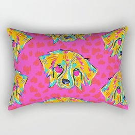 Bright Dog Pattern | Pink Rectangular Pillow