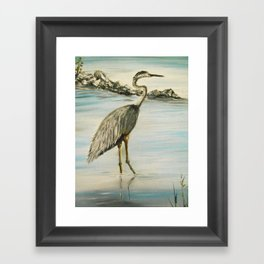 Great Blue Heron in Oil Framed Art Print