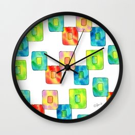 BE YOU AND IT'S OK square pattern inspirational quote abstract painting colorful illustration Wall Clock