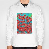 poppies Hoodies featuring Poppies by Klara Acel