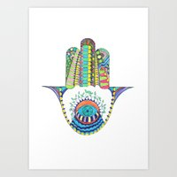hamsa Art Prints featuring HAMSA by Heaven7