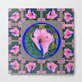 GREY PINK HIBISCUS FLOWERS & BLUE-GREEN PEACOCK Metal Print