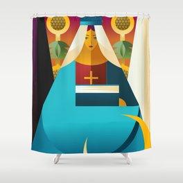 second tarot card the high priestess popess Shower Curtain