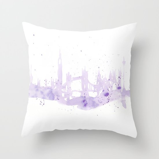 Watercolor landscape illustration_London Throw Pillow