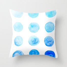 Calming Blue Watercolor Circles Throw Pillow