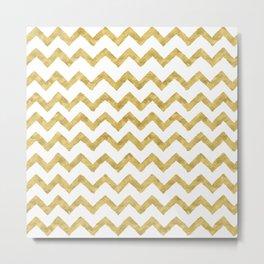 Chevron Gold And White Metal Print