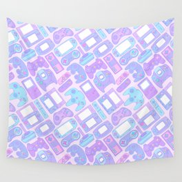 Video Game Controllers in Pastel Colors Wall Tapestry