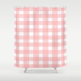 Pink Gingham Design Shower Curtain