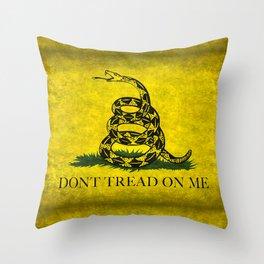 Gadsden Don't Tread On Me Flag - Distressed Retro Throw Pillow