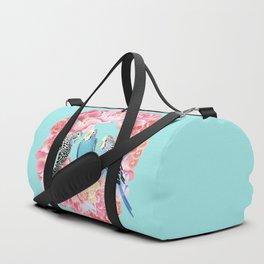 Birds of Paradise Parakeet Blue budgie Pink Peonies Flowers Wreath Duffle Bag
