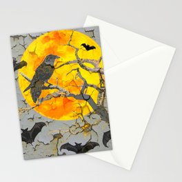 HALLOWEEN NIGHT BATS & RAVEN GOLDEN  MOON Stationery Cards