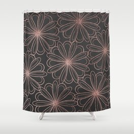 Girly gray blush pink rose gold floral Shower Curtain
