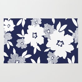 Monochromatic Blue and White Florals Rug