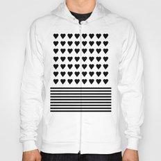 Heart Stripes Black on White Hoody
