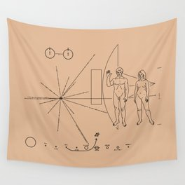 Nasa Pioneer Space Craft Plaque Alien Message Wall Tapestry