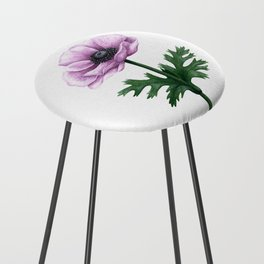 Pink Anemone Flower Painting Counter Stool