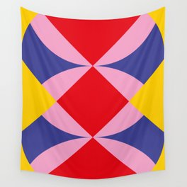 Two fly shaped wrestler's heads intersecating, making a beautiful red square in the center. Wall Tapestry