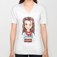 hermione V-neck T-shirts featuring Beauty Granger. Belle / Hermione crossover by Missy Corey
