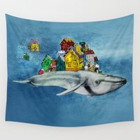 the whale Wall Tapestries featuring whale by Кaterina Кalinich