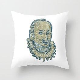 Sir Walter Raleigh Bust Drawing Throw Pillow