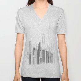 Modern City Buildings And Skyscrapers Sketch, New York Skyline, Wall Art Poster Decor, New York City Unisex V-Neck