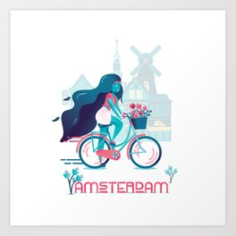 Cycling tulip of Amsterdam Art Print