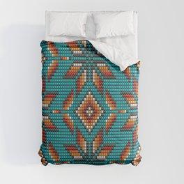 Modern colorful beaded boho aztec kilim pattern on teal Comforters