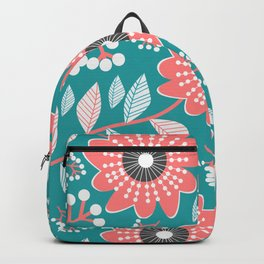 Garnished flowers in blue Backpack