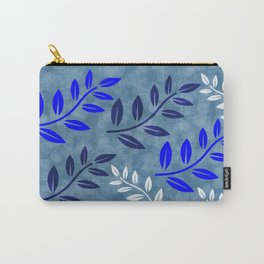 Blue and White Leaves Pattern Carry-All Pouch