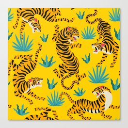 Yellow Tiger Tropical Pattern Canvas Print