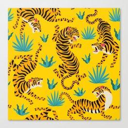 Yellow Tiger Tropical Pattern Canvas Print