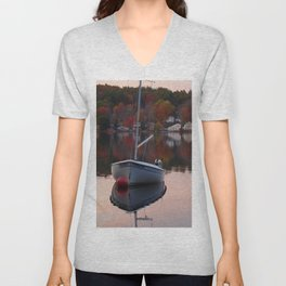 Sail Boat In Fall Unisex V-Neck