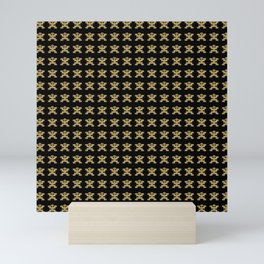 Replica of Pre-Columbian Pectoral Pattern in Gold Leaf on Black Mini Art Print