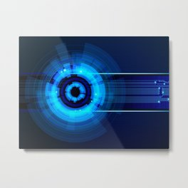Blue Neon Light Circles Metal Print