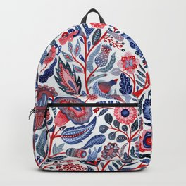 Botanical in red and blue Backpack