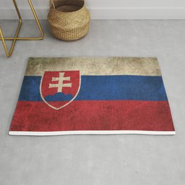 Old and Worn Distressed Vintage Flag of Slovakia Rug