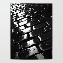shot on iphone .. wet cobblestones Poster