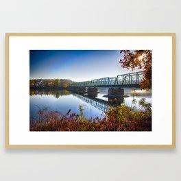 Autumn Morning View of the New Hope-Lambertville Bridge Framed Art Print