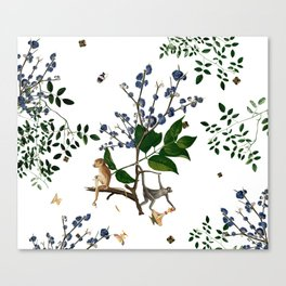 Monkey World: Apy and Vinnie - White Canvas Print