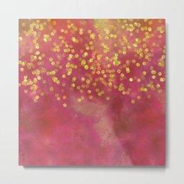 Golden Sparkles on Red Metal Print