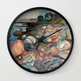 Shore with Red House by Edvard Munch Wall Clock