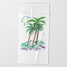 """Triplet Palms"" Beach Towel"