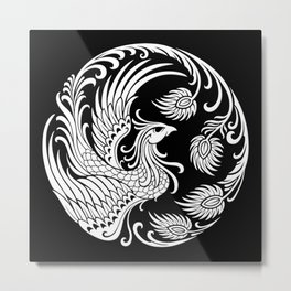 Traditional White and Black Chinese Phoenix Circle Metal Print