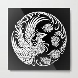 Traditional White and Black Chinese Phoenix Circle Metal Print
